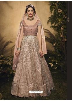 Light Beige Latest Designer Wedding Wear Anarkali Suit