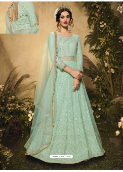 Sea Green Latest Designer Wedding Wear Anarkali Suit