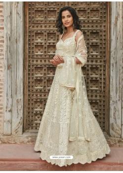 Off White Designer Wedding Wear Organza Silk Lehenga Choli