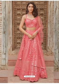 Peach Designer Wedding Wear Organza Silk Lehenga Choli