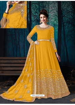 Mustard Latest Designer Wedding Wear Anarkali Suit