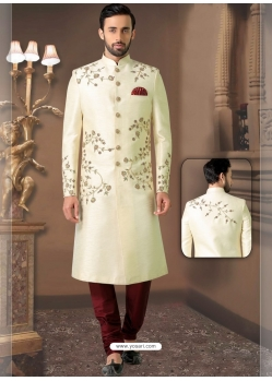 Off White Exclusive Readymade Designer Indowestern Sherwani