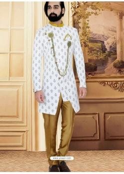 White Exclusive Readymade Designer Indowestern Sherwani