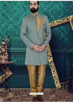 Grayish Green Exclusive Readymade Designer Indowestern Sherwani