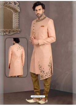Light Orange Exclusive Readymade Designer Indowestern Sherwani