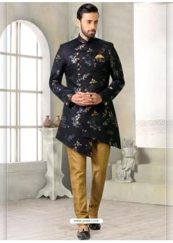Navy Blue Exclusive Readymade Designer Indowestern Sherwani