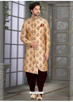 Light Beige Exclusive Readymade Designer Indowestern Sherwani