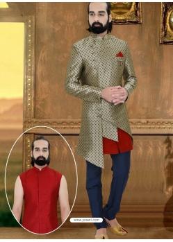 Silver Exclusive Readymade Designer Indowestern Sherwani