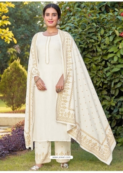 Off White Readymade Designer Party Wear Rayon Palazzo Salwar Suit