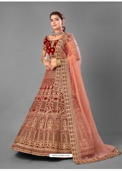 Maroon Designer Bridal Wear Velvet Lehenga Choli