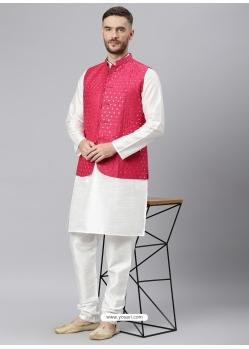 White Exclusive Readymade Designer Kurta With Jacket
