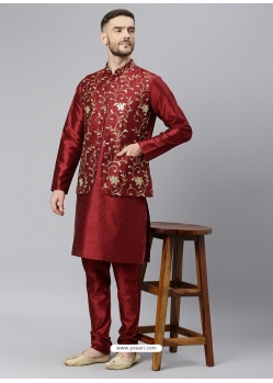 Maroon Exclusive Readymade Designer Kurta With Jacket