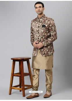 Gold Exclusive Readymade Designer Kurta With Jacket