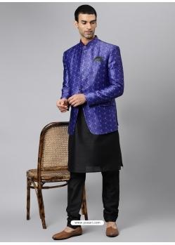 Black Exclusive Readymade Designer Kurta With Jacket