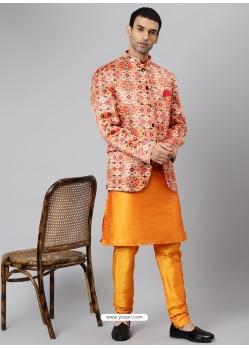 Orange Exclusive Readymade Designer Kurta With Jacket