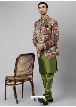 Forest Green Exclusive Readymade Designer Kurta With Jacket