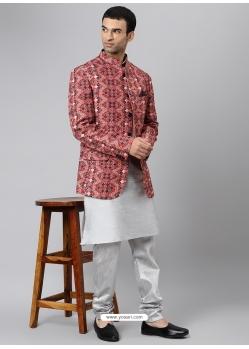 Silver Exclusive Readymade Designer Kurta With Jacket