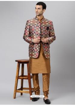 Beige Exclusive Readymade Designer Kurta With Jacket