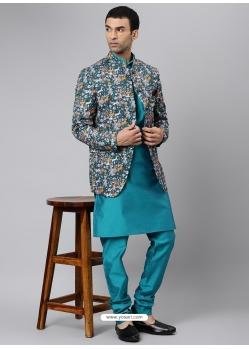 Turquoise Exclusive Readymade Designer Kurta With Jacket
