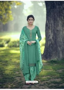 Aqua Mint Designer Party Wear Punjabi Patiala Suit