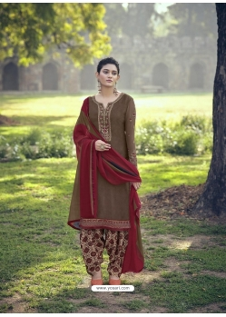 Taupe Designer Party Wear Punjabi Patiala Suit