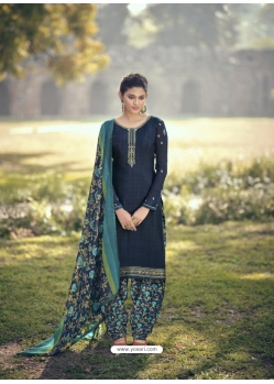 Navy Blue Designer Party Wear Punjabi Patiala Suit