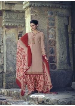 Light Brown Designer Party Wear Punjabi Patiala Suit