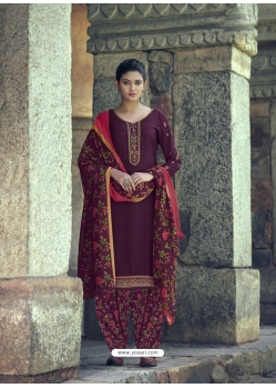 Deep Wine Designer Party Wear Punjabi Patiala Suit