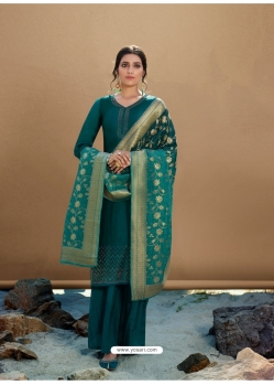 Teal Designer Party Wear Palazzo Salwar Suit
