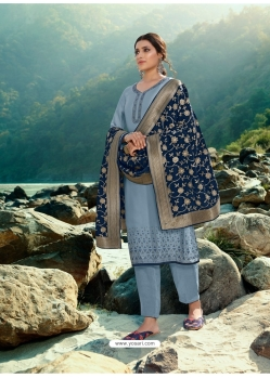 Aqua Grey Designer Party Wear Palazzo Salwar Suit