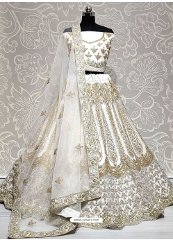 Off White Net Designer Lehenga Choli