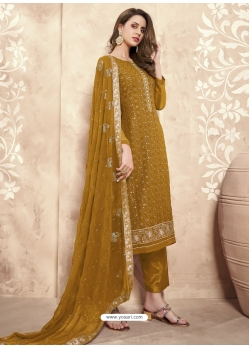 Marigold Designer Party Wear Palazzo Salwar Suit