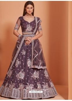 Purple Designer Wedding Wear Net Lehenga Choli