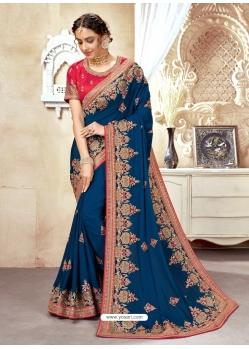Dark Blue Designer Wedding Wear Silk Sari