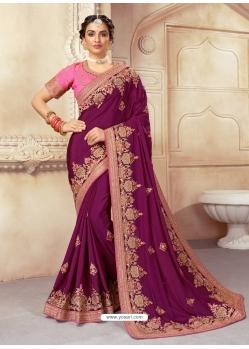 Medium Violet Designer Wedding Wear Silk Sari