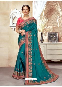 Teal Designer Wedding Wear Silk Sari