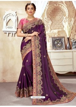 Purple Designer Wedding Wear Silk Sari