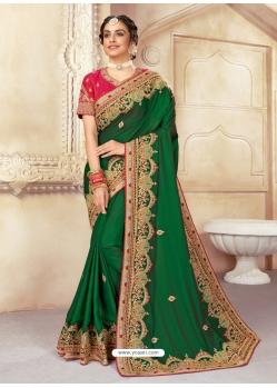Forest Green Designer Wedding Wear Silk Sari