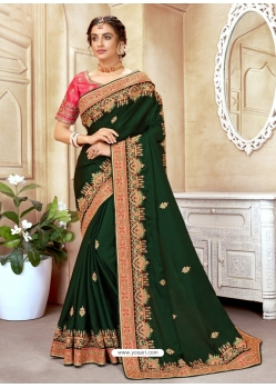 Dark Green Designer Wedding Wear Silk Sari