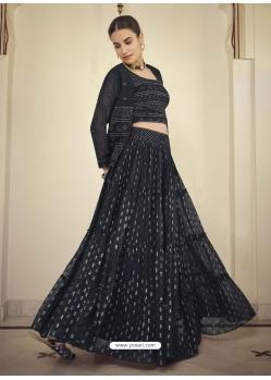 Black Readymade Designer Party Wear Lehenga Choli