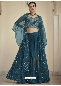 Teal Blue Readymade Designer Party Wear Lehenga Choli