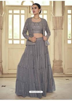 Grey Readymade Designer Party Wear Lehenga Choli