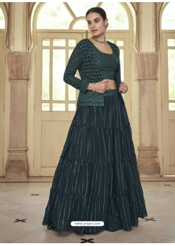 Dark Green Readymade Designer Party Wear Lehenga Choli