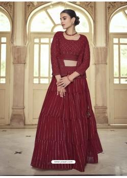 Maroon Readymade Designer Party Wear Lehenga Choli