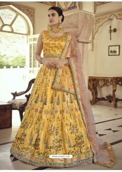 Yellow Readymade Designer Party Wear Lehenga Choli