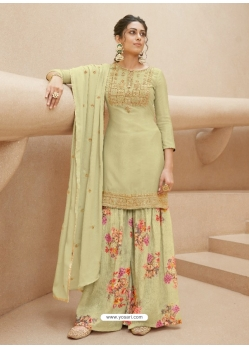 Pista Green Designer Party Wear Pure Muslin Palazzo Salwar Suit