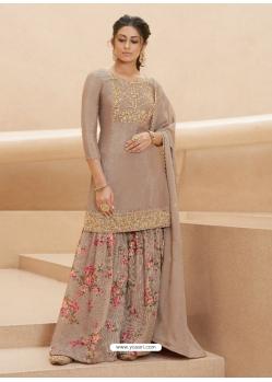 Light Brown Designer Party Wear Pure Muslin Palazzo Salwar Suit