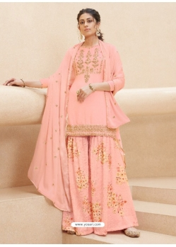 Light Orange Designer Party Wear Pure Muslin Palazzo Salwar Suit