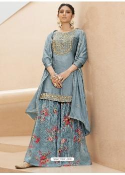 Aqua Grey Designer Party Wear Pure Muslin Palazzo Salwar Suit