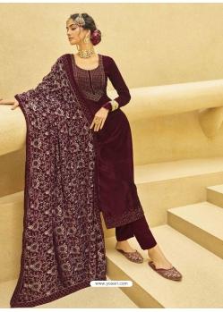 Maroon Designer Festive Wear Exotic Velvet Salwar Suit